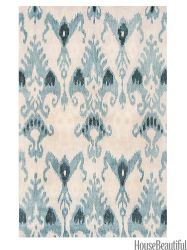 Ikat rug in shades of blue from hsn.com/HBmarketplace. #ikat #blue #rug #tribal_print