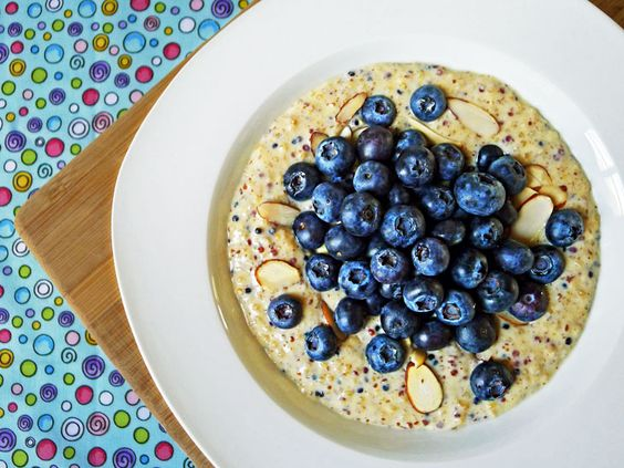 Quinoa Pudding with Fresh Blueberries #recipe #food #healthy