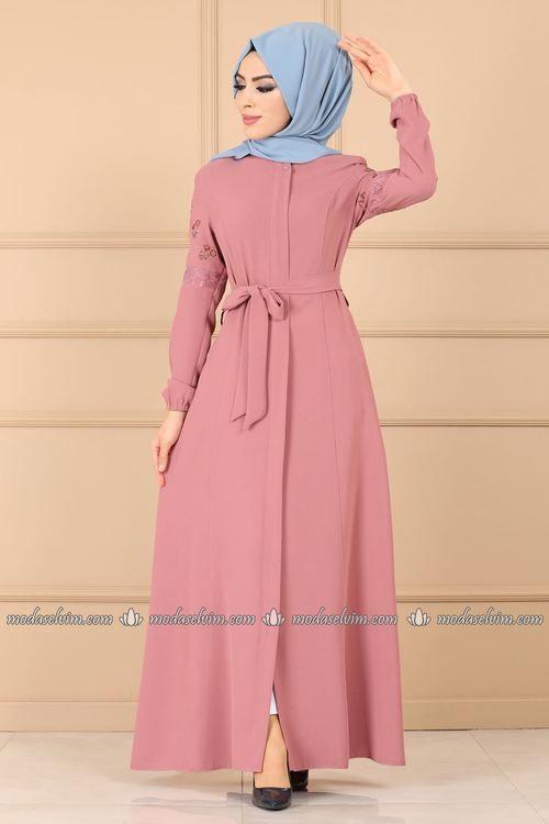 Modaselvim Ferace Kollari Nakisli Ferace Ays2316 Pudra Moda Stilleri The Dress Elbise