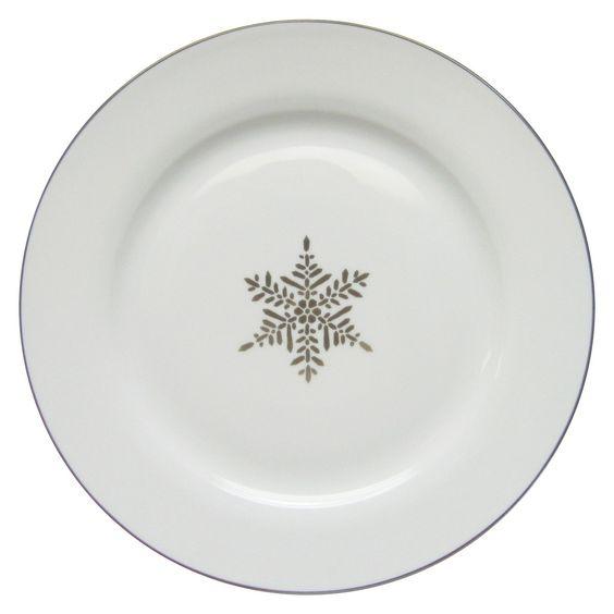 Threshold Porcelain Dinner Plate - Silver Snowflake | xmas ...
