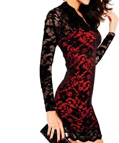 IYZF Sexy Black Solid V-neck Lace Sleeve Party Night Club Bodycon Slim Mini Dress Color Red(Long Sleeve) Size M IYZF http://www.amazon.com/dp/B00MGLRS1U/ref=cm_sw_r_pi_dp_4nAvub1EJ6B7N