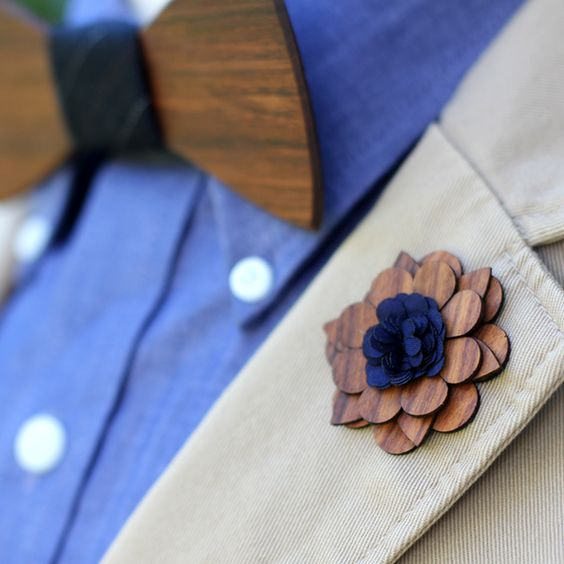 Fancy - Charleston Wooden Lapel Flower by Two Guys Bow Ties: