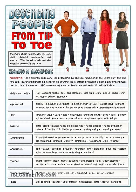 DESCRIBING PEOPLE FROM TIP TO TOE - VOCABULARY::