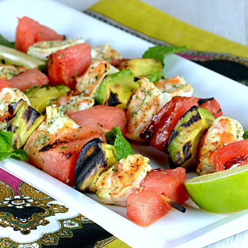 Thai grilled shrimp skewers with watermelon & avocado. Unique BBQ idea ...