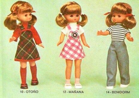 Modelos muñeca Lesly de 1976. 10 Otoño, 12 Mañana, 14 Benidorm.