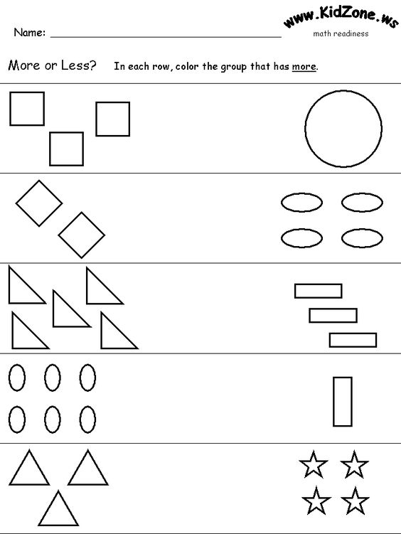 Free Worksheets pre school work : More or less worksheets | Math Activities kindergarten | Pinterest ...