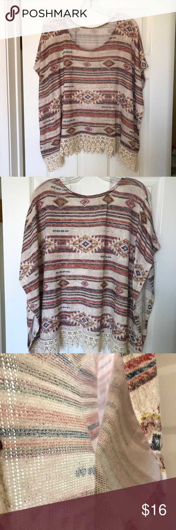 Cute Boho Sweater Nice colors and lightweight. Cut tag off but bought at Macy's Macy's Tops Sweatshirts & Hoodies