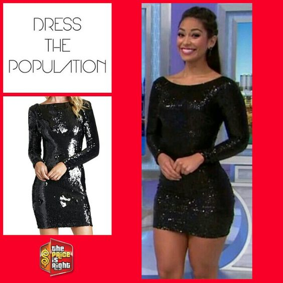 DRESS THE POPULATION &39Lola&39 Backless Sequin Minidress in Black ...