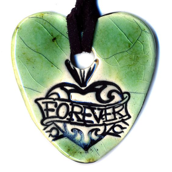 Surly Ramics Forever Heart Ceramic Necklace in Green Crackle. $18.00, via Etsy.