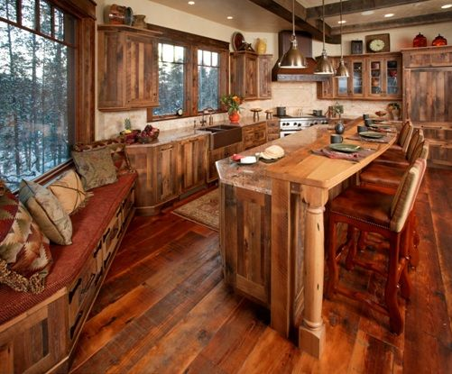 Really Like The Window Seat And All The Rustic Hopefully Reclaimed Wood In This Kitchen