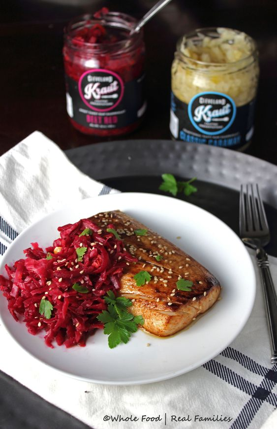Asian Mahi Mahi with Beet Red Kraut by Whole Food | Real Families with Cleveland Kraut @clevelandkraut: