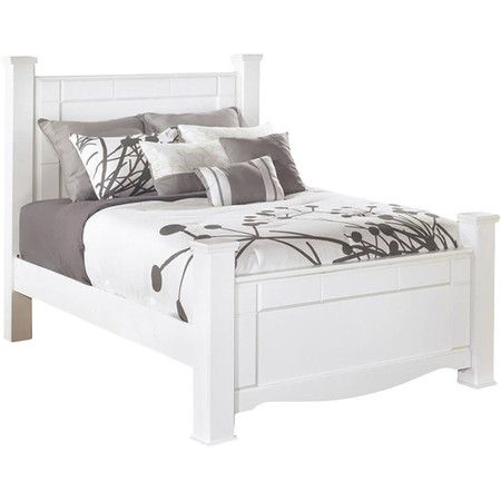 Refresh your master suite in crisp style with this chic bed, showcasing clean-lined accents, a swooping skirt, and a brisk white finish.
