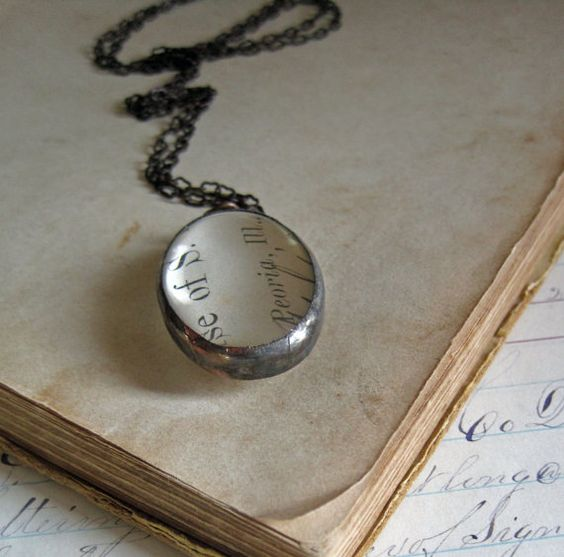 Paper and Glass Antique Receipt Necklace One by ThatOldBlueHouse2