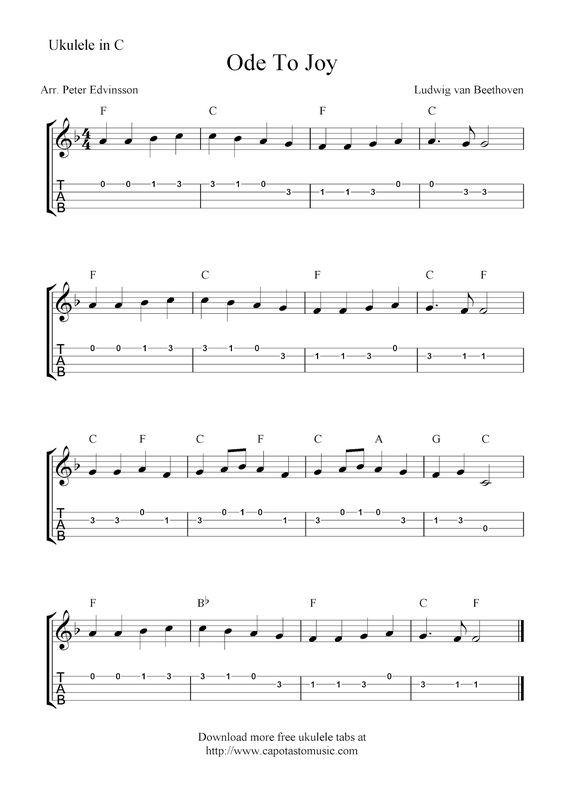 Free Sheet Music Scores: Ode To Joy, free ukulele tab sheet music : Ukulele Tabs : Pinterest ...