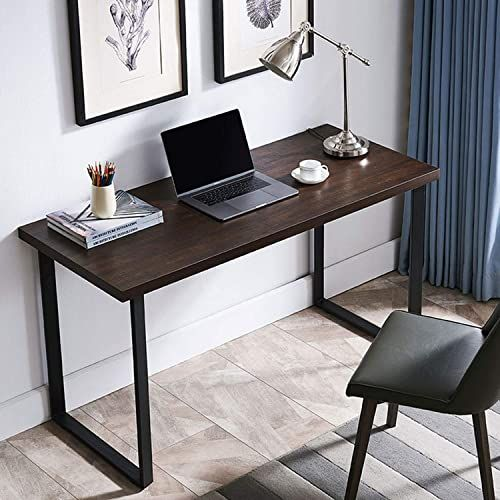 Enjoy Exclusive For Amoak Computer Desk 47 Modern Writing Desk Simple Study Table Industrial Office Desk Sturdy Laptop Table Home Office Brown Online In 2020 Study Table Designs Computer Desks For