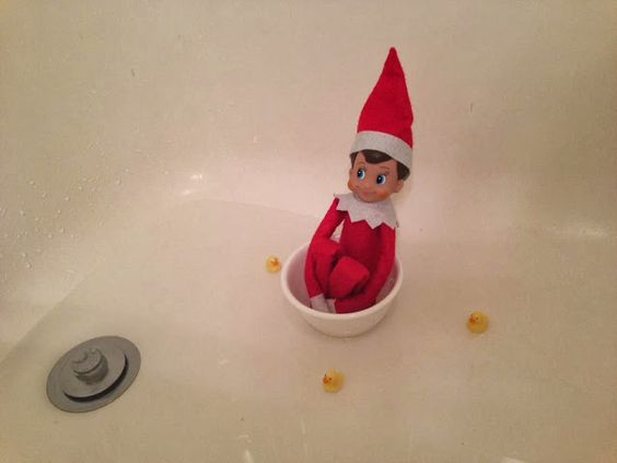Elf on the shelf at bath time he is available at seasons for Elf on the shelf bathroom ideas