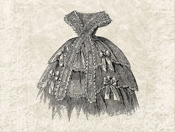Digital Victorian Dress Illustration Download - Vintage Dress ...