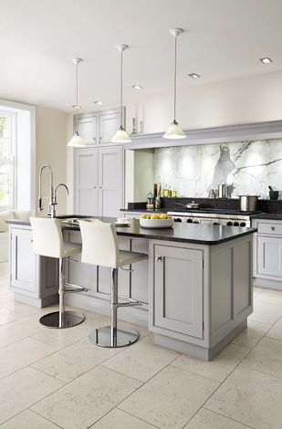 Grey cabinets black counters and white walls on pinterest for Dark grey kitchen units