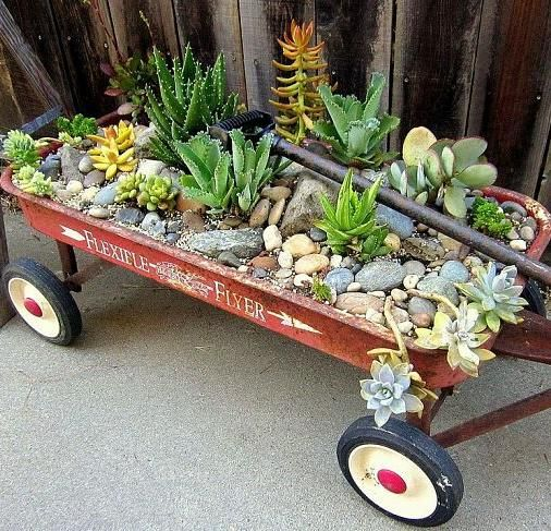 Garden Decorated With An Old Wagon Turned Into A Planter | Outdoors |  Pinterest