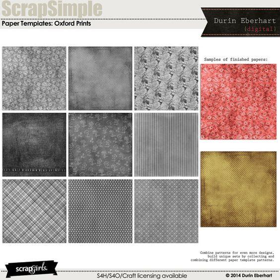 ScrapSimple Paper Templates: Oxford Prints Biggie Digital Scrapbooking Kit by Durin Eberhart | ScrapGirls.com