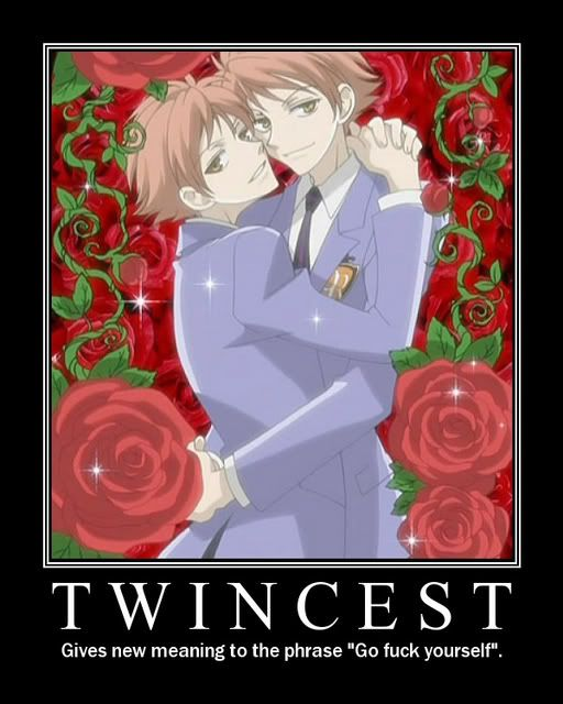 """ouran high school funny   Anime Motivational Poster - Ouran High School Host Club - """"Twincest ..."""