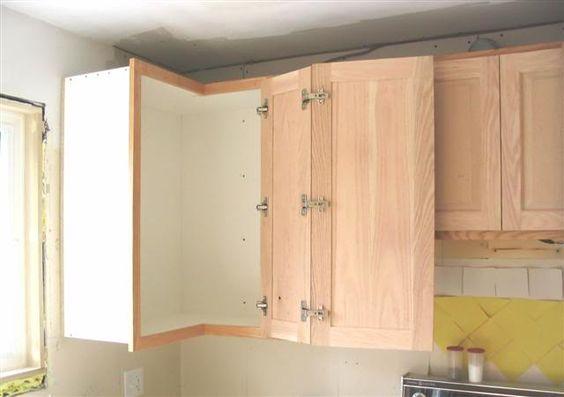 Upper corner cabinet double hinged door kitchen pinterest corner