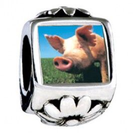 Piggy Face Photo Flower Charms  Fit pandora,trollbeads,chamilia,biagi,soufeel and any customized bracelet/necklaces. #Jewelry #Fashion #Silver# handcraft #DIY #Accessory