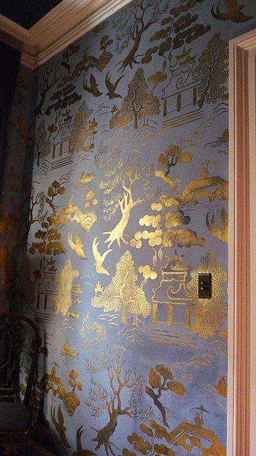 Matt Austin's glowing, light reflecting, gold Chinoiserie walls
