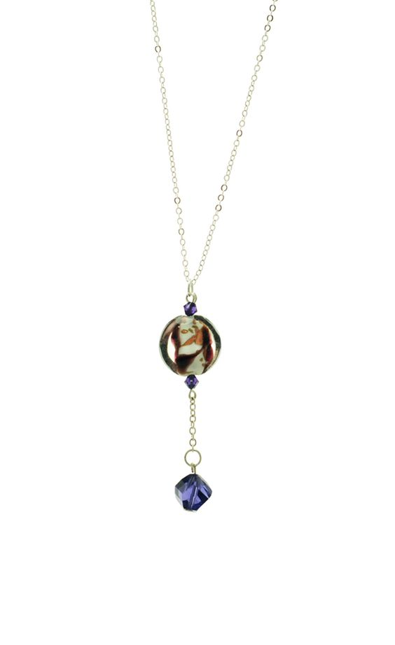 Deep Purple Murano and Swarovski Circle, 925 Silver
