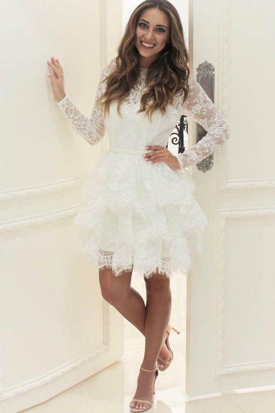 Long Sleeves Tiered Short Lace Wedding Dress