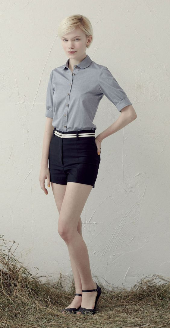 Betina Lou S/S 013 Collection - Odile Blouse Chambray & Short Brooke Black