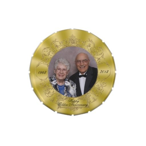 50th Wedding Anniversary Photo Jelly Belly Candy Tin Favor.  $6.50