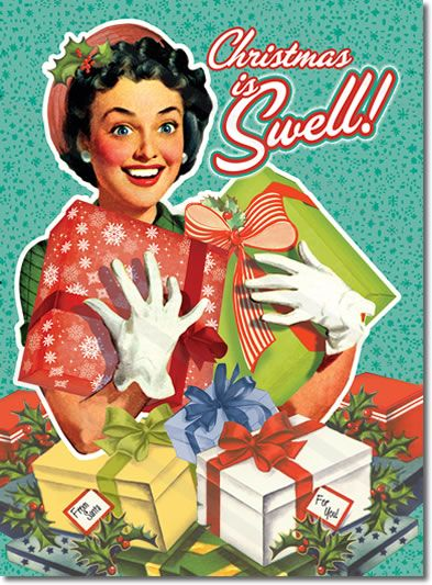 Retro Housewife Christmas Card – Vintage Girl  Retro Housewife Christmas Card features a retro woman holding an armload of gifts. She thinks Christmas is just Swell! Original vintage retro artwork and vintage humor. Send them out to your rockabilly friends.  8 cards & envelopes $12.00 | Folded Card Size 4.5″x 6.25″: