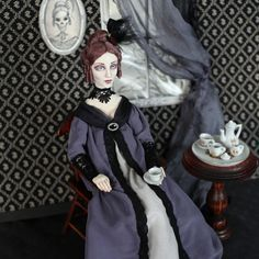 """""""Nefarious Nelle"""" - mixed-media doll in Regency dress made by Hally Levesque for """"Cult of Doll"""" - an online art doll almanac April 2016"""