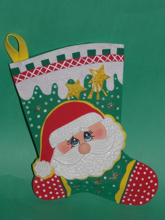 Bota navidad goma eva trinifuchas pinterest navidad - Manualidades de navidad con goma eva ...