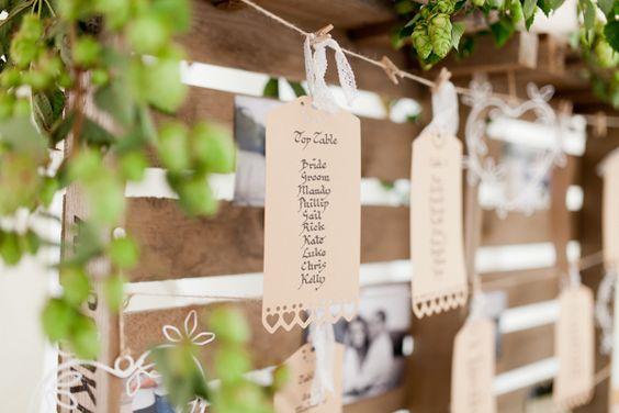 Country Rustic Home Farm Wedding Luggage Tag Table Plan http://www.whitestagweddings.com/
