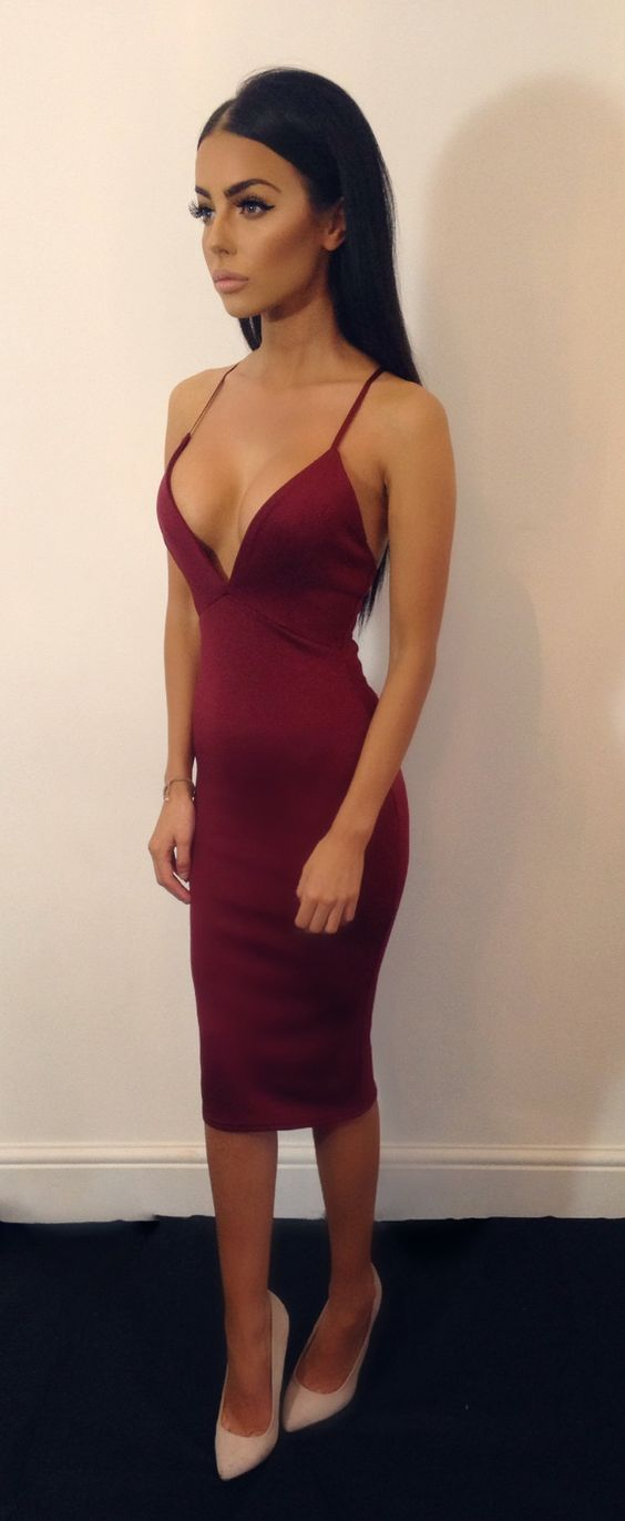 Red dress looks smart