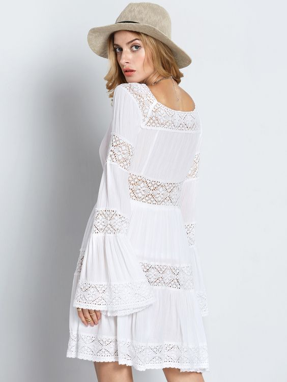 Online shopping for White Long Sleeve Boho Dress With Crochet Lace ...
