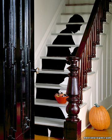 Spooky Staircase Silhouette by marthastewart: Print out the staircase template, cut and tape. #Halloween #marthastewart #Staircase_Silhouette