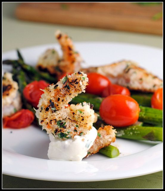 Crispy Herbed Shrimp with Chive Aioli and Roasted Asparagus