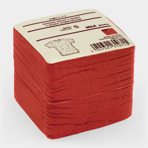 "MUJI Red T-Shirt Cube: The name ""MUJI"" is derived from the Japanese phrase ""Mujirushi Ryohin,"" meaning ""No Brand Goods."" The resulting products are streamlined, environmentally friendly, and beautiful in their simplicity. Over the last 20 years, MUJI has developed a worldwide following with a guiding philosophy that emphasizes innovative and simple materials, processes, and packaging. Work manufactured by the company is featured in MoMA's collection. This fitted t-shirt is cleverly packaged…"