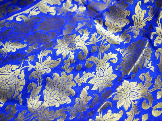 Blue and Gold Silk Brocade Fabric Motifs Weaving - Indian Silk, Dresses Fabric - Pure Banarasi Silk Fabric by Yard