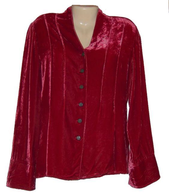 Womens shirt size l j jill red silk velvet long sleeve for Red velvet button up shirt