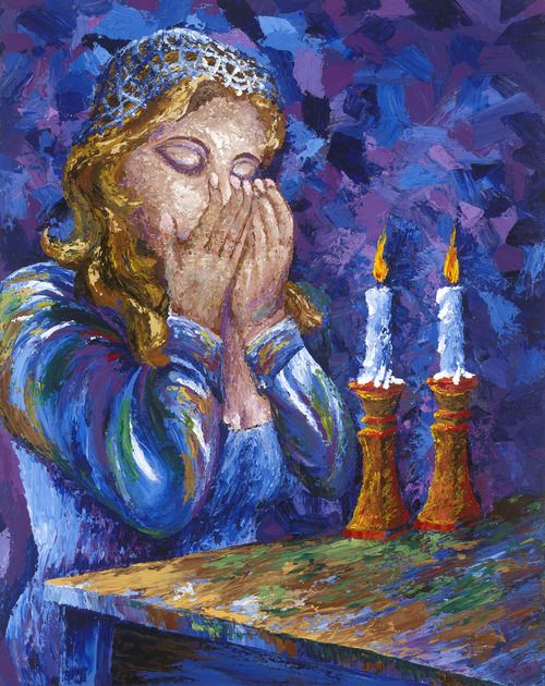 """Shabbat Shalom""  Contemporary Judaic impressionistic acrylic painting using a palette knife of a woman lighting Shabbat candles by Peter Theo.  artbytheo.com"