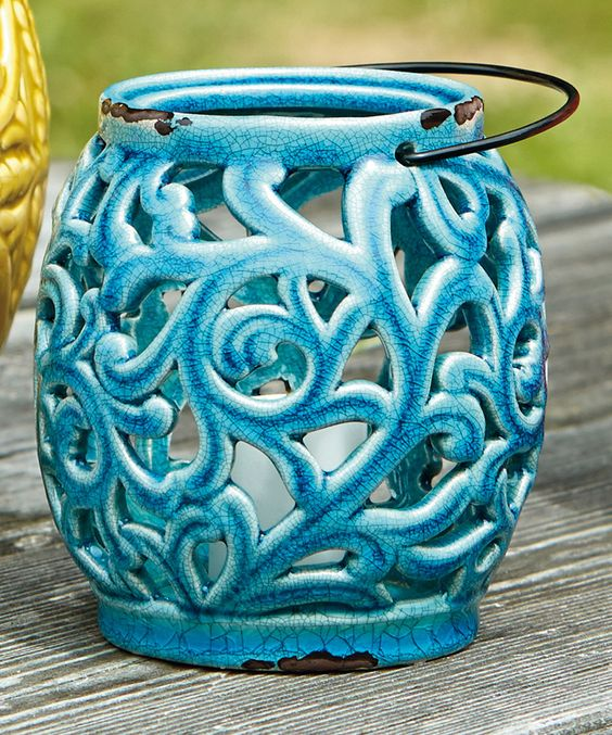 Look at this #zulilyfind! Blue Scroll Ceramic Lantern - Set of Two by Design Imports #zulilyfinds