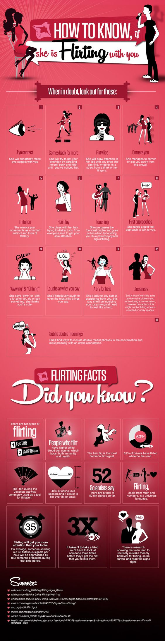 It can be a difficult situation to figure out the signs, if a girl really flirting with you. Because all females react in the different way. Want to know if she is flirting with you? We are about to tell you. Below infographic illustrate amazing flirting facts and 13 signs, when in doubt, look out of these.  http://www.digitalinformationworld.com/2013/04/13-signs-if-she-is-flirting-with-you.html #relationships #flirting #howto: