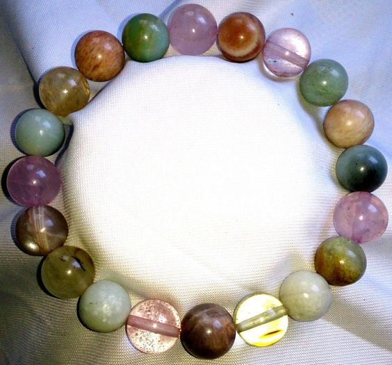 Wassermelonenturmalin Amazonit Rosenquarz Sonnenstein Perlen Armband