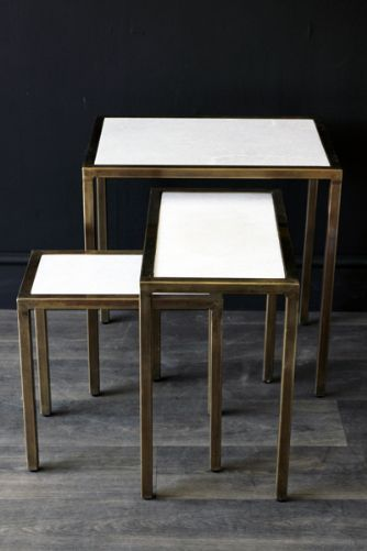 Marble Top Brass Nest of 3 Tables brass legs golden gold metallic shiny modern table bedside side