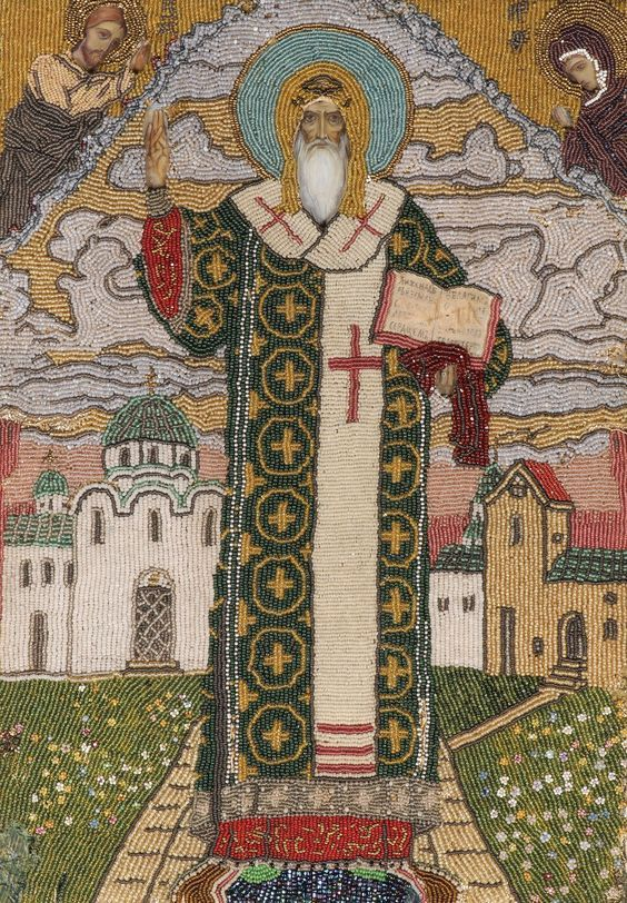 Icon of St. Alexis of Moscow covered in embroidery and beading, c. 1905