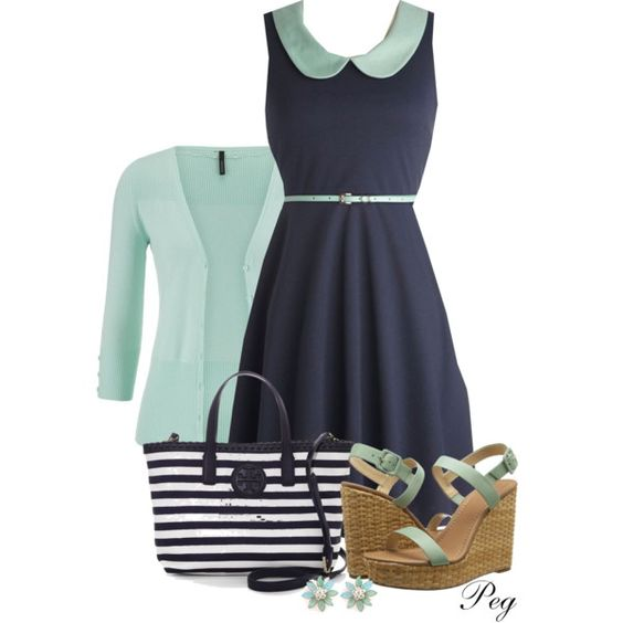 Collared Dress by derniers on Polyvore featuring moda, maurices, Kate Spade and Tory Burch